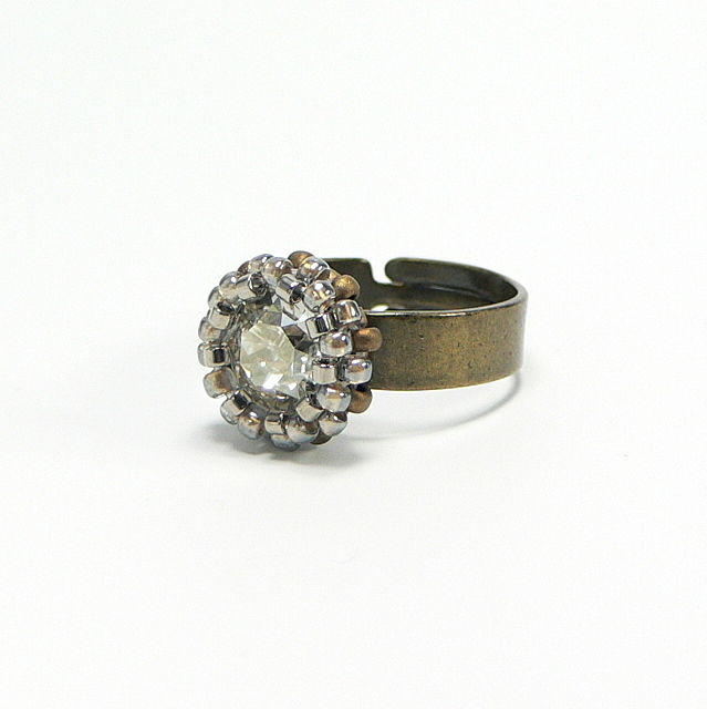 "Ring verstellbar, Antik-Finish, SWAROVSKI ELEMENT ""Silver Shade"""