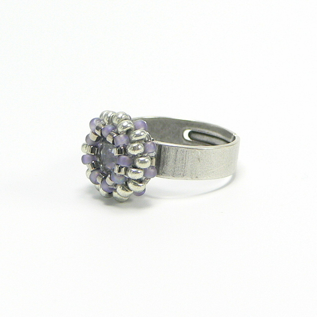 Ring verstellbar, Silber Antik-Finish, SWAROVSKI ELEMENT in Mauve