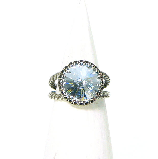 "Ring verstellbar, Silber Antik-Finish, Swarovski ""Blue Shade"""