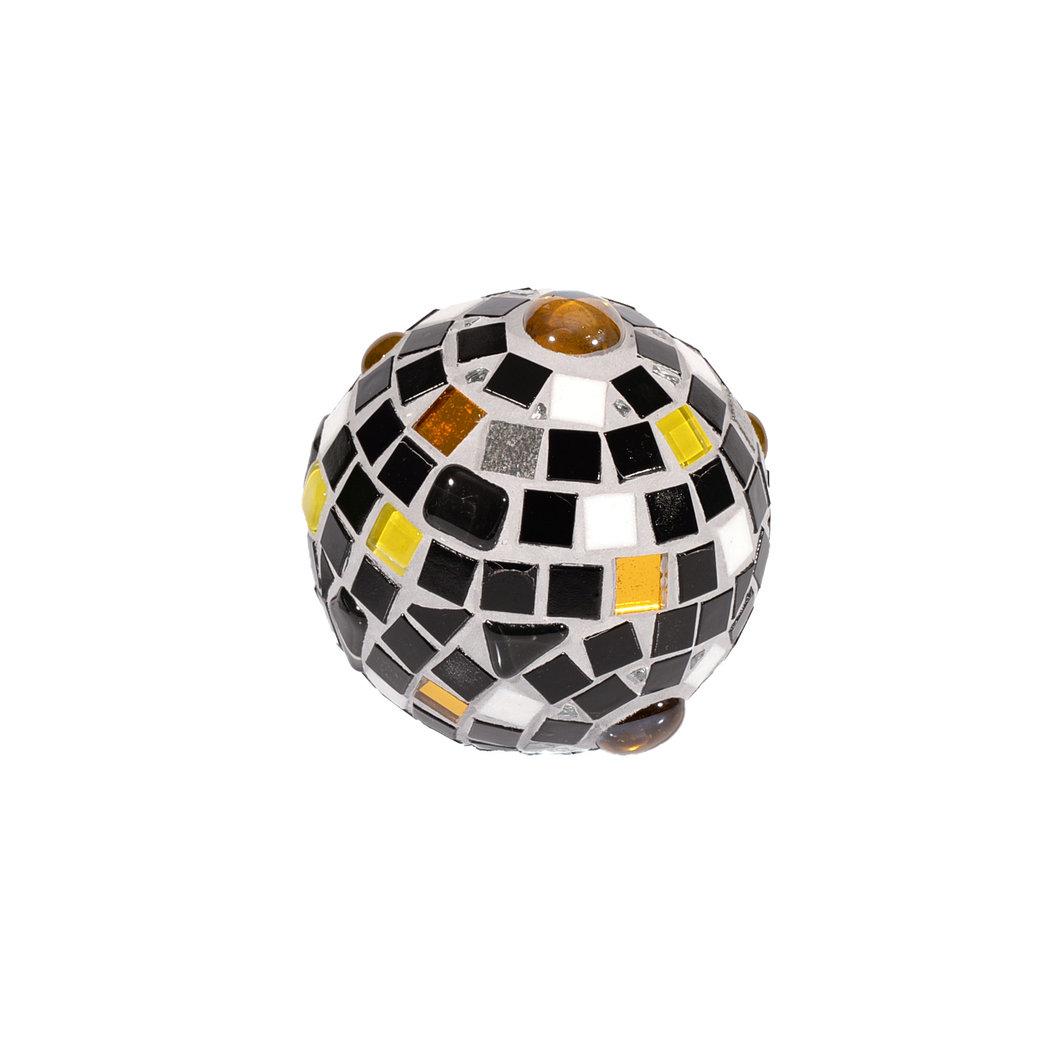 Mosaik deko kugel 9 cm schwarz wei gelb wetterfest und for Mosaik deko