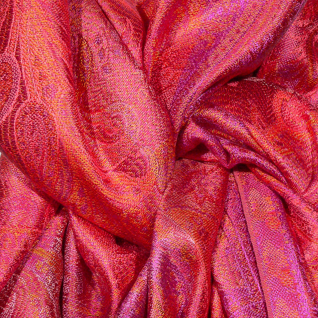 Seidenschal Paisley-Muster Rot Pink Orange 55cm